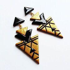 Handmade Gold and Black Geometric 80s Retro Triangle Big Huge Long Stud Earrings