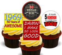50th Birthday Male 1969 Edible Cupcake Toppers, Stand-up Fairy Cake Decorations