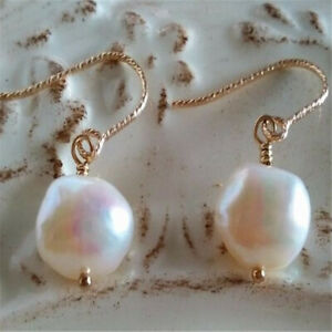 12-13mm natural white Baroque pearl earrings 18k hook Chic Jewelry AAAA