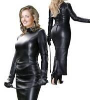 Women Leather Dress Genuine Lambskin Women's Celebrity Style Top + Long Skirt