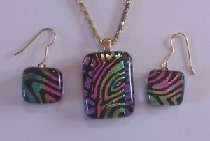 Dichroic Fused Glass Multi Color Rainbow Jewelry Matching Pendant Earrings Set