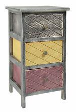 ts-ideen Table de chevet Table de nuit 3 tiroirs Noir/marron/beige