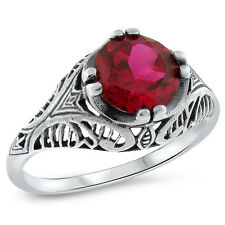 2.5 CT LAB RUBY 925 STERLING SILVER ANTIQUE DESIGN RING SIZE 4.75,#684