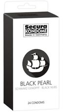 24 préservatifs noirs perlés Black Pearl - Secura