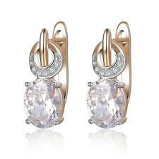18K Rose Gold GP Oval Clear Crystal Hoop Earrings Women Gift New Arrival CE273