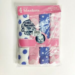 Gerber Cozy Soft Flannel Baby Girl Receiving Blankets 4 Pack 30 in x 30 in Pink