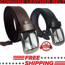 Brand New Mens Genuine Leather Belt Belts WithClassic Silver Buckle Brown Black