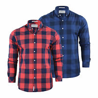Mens Checked Shirt Crosshatch Wentley Cotton Collared Long Sleeve Casual Top