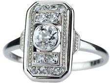 Jugendstil 14 K 590 Weißgold Gold 0,49 ct Diamant Solitär Damen Ring !