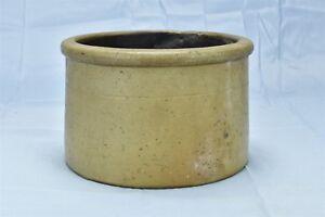 Antique SALT GLAZED STONEWARE BUTTER CROCK KITCHEN FARMHOUSE OLD #06615