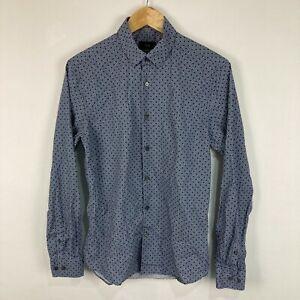 Saba Mens Button Up Shirt Size XS Blue Geometric Long Sleeve Collared