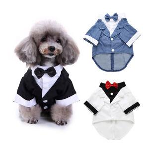 AM_ PET DOG CAT COSTUME FORMAL WEDDING SUIT BOW TIE PUPPY CLOTHES COAT ST