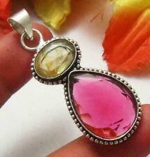 Pink Tourmaline Quartz Citrine Gemstone Pendant 925 Silver Plated U193-B54