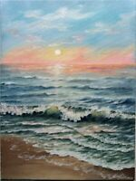 "Art 16""/12""oil painting, serenity sunset, ocean painting, seascape, landscape"