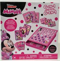 Cardinal Disney Jr. Minnie Mouse 6-In-1 Game House Tin Checkers Go Fish Memory