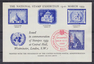 UN, New York Sc 61 on 1959 Semi-Official Souv Sheet, National Stamp Exhibition