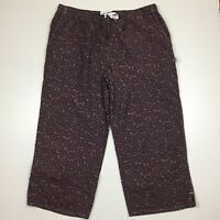 LUCY Womens L Large Purple Gray Print Wide Leg Active Wear Cropped Pants