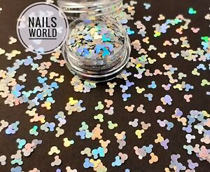 Silver MICKEY Holographic 3D Nail Art Glitter SHAPE Sequins Shining Decoration