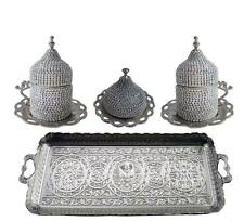 Turkish Greek Arabic Coffee Swarovski Crystal Full Coated Cup Tray Serving Set