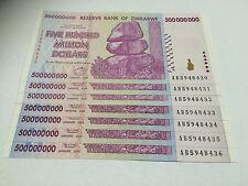 7 x Zimbabwe 500 MILLION Dollar Notes AB/2008 Consecutive Numbers UNC *BARGAIN*