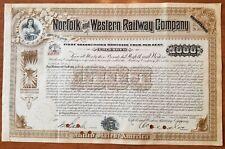 $1,000 Norfolk /& Western Railway Company Bond Stock Certificate Railroad
