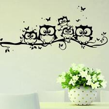 Black Owls Cartoon Wall Sticker Owls on The Tree Children Room Home Decor OO
