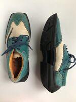 JOHN FLUEVOG Mens Charles Bue & White Contrast Leather Wingtip Shoes - 9US/8AU