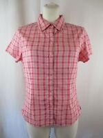 The North Face Damen Kurzarm Bluse Hemd M Rosa - Pink Kariert Klassischer Kragen