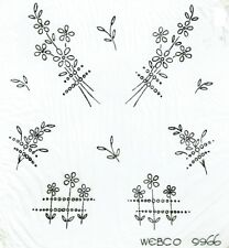Vintage iron on embroidery transfer flower sprigs webco, webber and co 9966