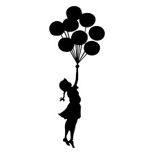 Girl With Baloons Flying Heart Love Wall Car Sticker Decal Window Decoration  D