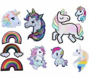 Unicorn Rainbow Embroidered Logo Patch Badge Iron On / Sew On Fancy Dress Pride