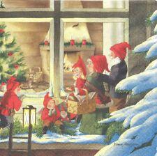 2 Serviettes en papier Lutins Noël Decoupage Paper Napkins Curiously Nisser
