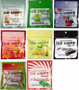 ICE CHIPS Xylitol Candy; Keto Friendly (3 PK Custom Choice, 8 Flavors) 1 OZ Each