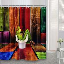 Frog Sitting Toilet Color Wooden Wall Fabric Shower Curtain Bathroom Waterproof