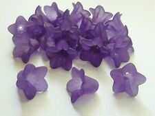 40 pce Frosted Purple Acrylic Bell Flower Beads 16mm x 12mm Jewellery Making