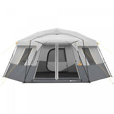 11-Person Instant Hexagon Cabin Camping Tent 17' x 15' 2 Rooms Waterproof