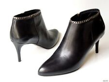 new $495 L.K. Bennett black leather SILVER CHAIN ankle boots 39 US 8  - classy
