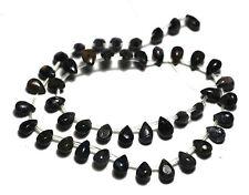 ~45 NATURAL BLUE Pietersite Flat Pear Briolette Beads 6x9mm K3813