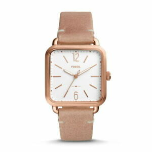 FOSSIL MICAH ES4254 Quartz White Rose Gold Beige SS Leather Square Analog Womens