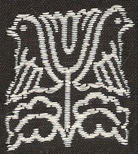Vintage/antique early 1900s woven silk applique-use in crazy quilt: black/doves