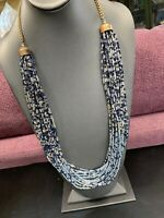 Vintage Boheniman Blue Grey Glass Seed Bead Multi Strand Long Necklace Boho 28""