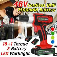 48V Cordless Rechargeable Electric Drill Impact Screwdriver 18+1 Torque Tools