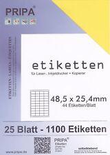 1100 Etiketten 48x25 mm = 25 Blatt gelb selbstklebend PRIPA Aufkleber aus Papier