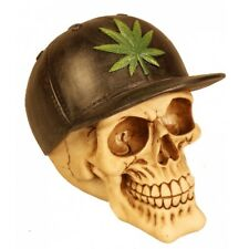 Deko Totenschädel Schädel mit Cannabis Blatt Kiffen Halloween Gothic DOD370