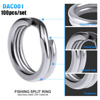 Double 3#-8# Stainless Steel Fishing Split Rings Swivel Snap Fish Connector