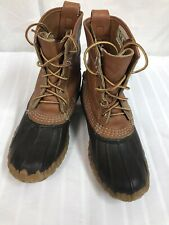 """L.L. Bean Boots Women's 7"""" Duck Boots 8 M  Brown Tan Leather USA"""