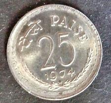 1974 India Circulated Coin 25 Paise Asoka Lion Pedestal