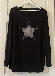 Next Black Top With Silver Star Embellished 18