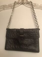 FURLA BROWN CROC EMBOSSED CHAIN CLUTCH SMALL BAG MADE IN ITALY