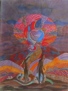"""STAN TERLECKI AUSTRALIAN WC & INK """"COLOR ABSTRACT ETERNITY"""" 1980 A"""